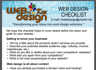 Checklist for TN business website design.